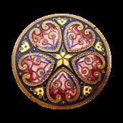 SALE PENDING Victorian Hearts & Flowers Vibrant Enamel on Brass Button