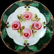 Antique Victorian Gilt Brass Enamel Button w Rosebuds