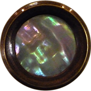 Brass Button w Colorful Mother of Pearl Inset