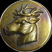 Brass Picture Button Buck Deer Head