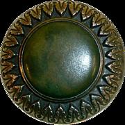 Large Victorian Brass Celluloid Jewel Button