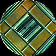 Art Deco Geometric Carved Celluloid XL Button