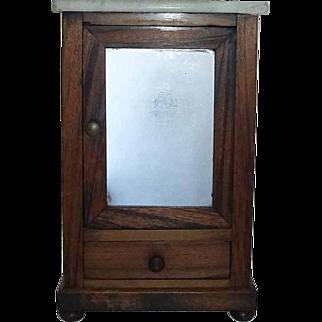 Miniature Marble Top Wood Wardrobe Armoire