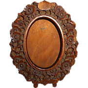 Carved Floral Design Wood Oval Frame
