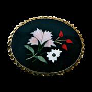 Italian Pietra Dura Gilt Sterling Floral Mosaic