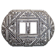Art Deco Sterling & Marcasite Initial Initial W Pin