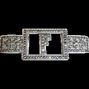 Glittering Art Deco Sterling Silver & Marcasite F Initial Pin
