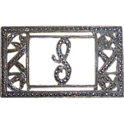 Sparkling Art Deco Sterling & Marcasite S Initial Pin