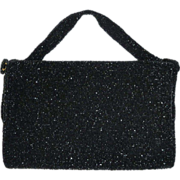 Glittering Faceted Black Glass Beaded Purse