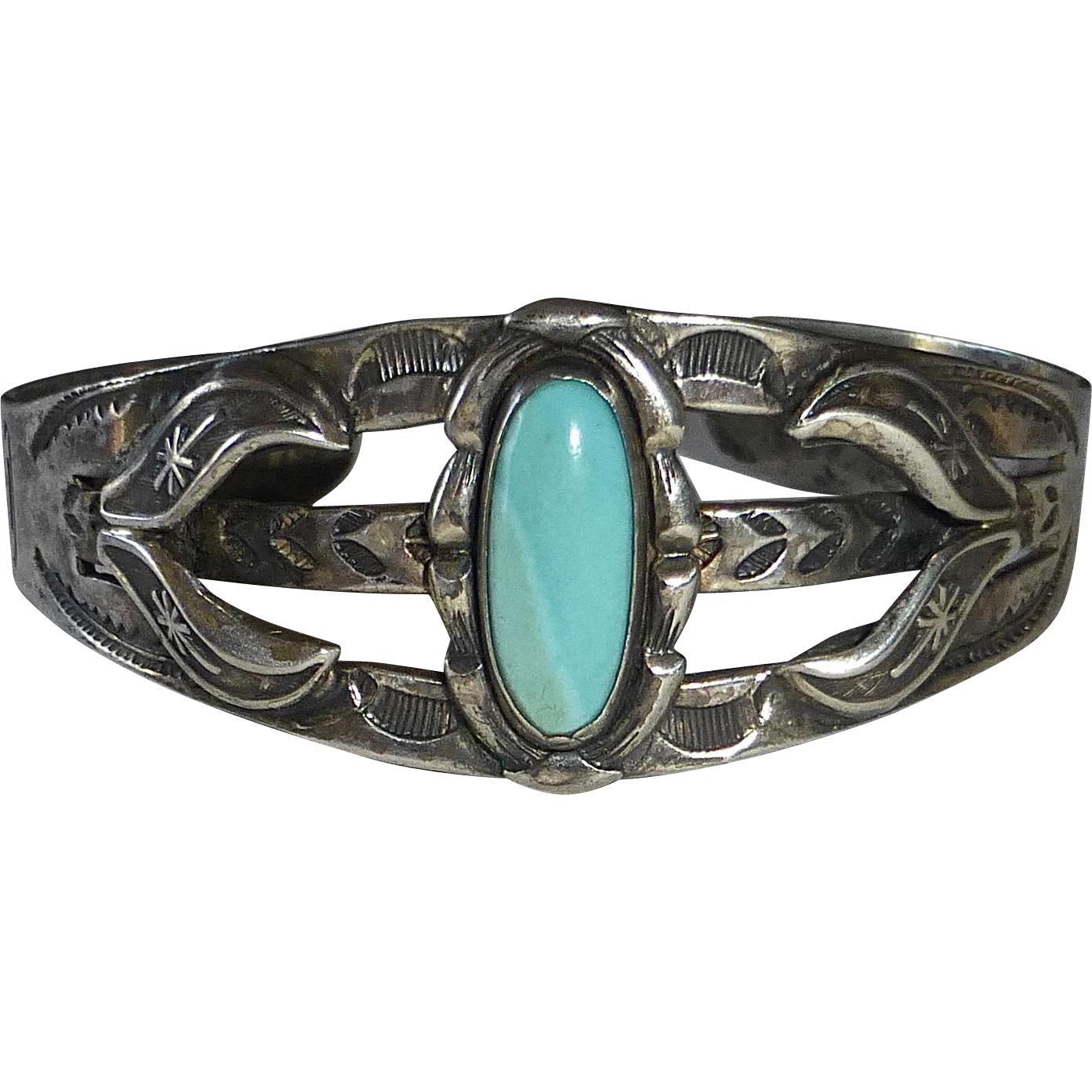 Native American Bell Trading Co Sterling Cuff Bracelet Turquoise From Bejewelled On Ruby Lane