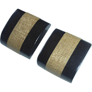 Black Bakelite & Wood Laminated Button Pair