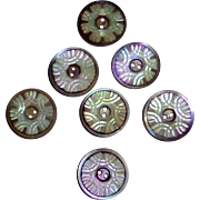 SOLD Set of 7 Carved Mother of Pearl Buttons