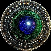 Rare Victorian Peacock Eye Foil Glass Button Brass & Cut Steel