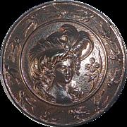 Copper Flashed Metal XL Edwardian Woman & Birds Button