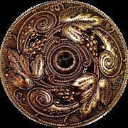 Ornate Gilt Brass Pierced Button w Cut Steel
