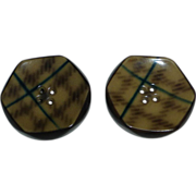 Art Deco Celluloid Plaid Pattern Button Pair