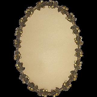 Art Nouveau Hibiscus Gilt Brass Oval Picture Frame