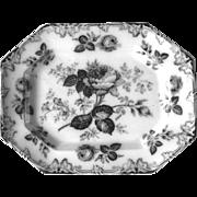 SOLD Antique 19thC MossRose Pattern Transferware Platter England