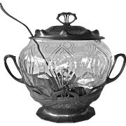 Orivit Art Nouveau Jugendstil Cut Glass Punch Bowl Pewter Lid & Base