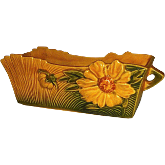 Roseville Window Box Planter Amber Peony 387-8