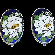 Chinese Sterling Enamel Chrysanthemum Earrings