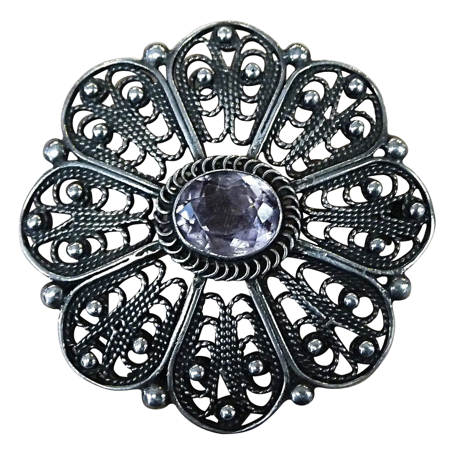 Ornate Sterling Filigree Pin with Amethyst