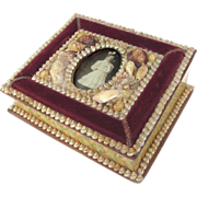 Victorian Shell Art Box - Lid is Frame for a CDV Photograph