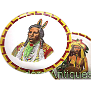 Native American Indian Portrait Plates c1905 England - Spectacular Pair Antique Plates