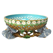 Minton Majolica Pigeon Fruit Bowl Dated 1876 - Pierced with Daisy Rim