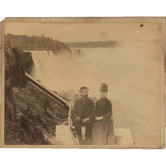 "Niagara Falls Photograph c1875 Large Albumen  of a Couple ""at the Brink"""