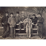 """Antique YALE Photo of 7 Student Dandies Posing in front of """"The Walk"""" c1875"""