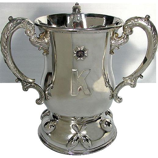 "Antique Military Trophy / Loving Cup - HUGE 1904 Bowling - 47th Regiment N.G.N.Y. Company ""K"""