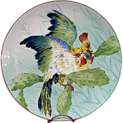 Antique Charger with heckling Parrot or Cockatoo, France, c1890-1900