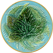 George Jones Majolica Plate Leaf and Fern c1870