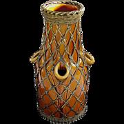 Awaji Bronze Weave Overlay Vase c1920 - Rich Butterscotch Glaze - Unusual Form