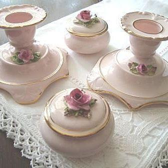 5 Piece Adderley China Vanity Set Porcelain Rose Decorated
