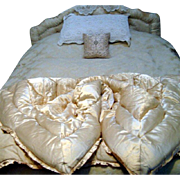Hollywood Glamour - Oyster Satin Feather Filled Eiderdown - c 1940