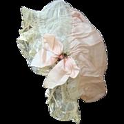 Vintage Ladies Edwardian Boudoir Cap - Silk Tulle and Lace
