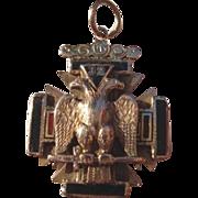 Antique 32nd Degree 14k Gold Masonic Pendant - Fob