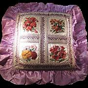 Victorian Silk Pillow/Cushion Printed Silk Floral Decoration