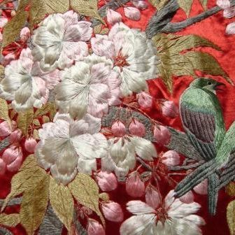 Stunning Pair of Antique Japanese Silk Panels c1800s Hand Embroidery