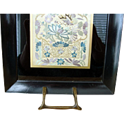 Antique Ebonized Tray - 1880s Chinese Embroidery Panel - Qing Dynasty