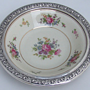 Bavarian Porcelain and Sterling Silver Serving Bowl