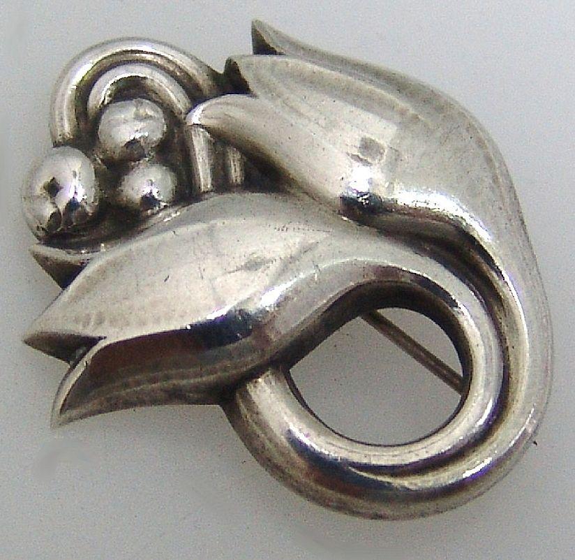 Jensen Tulip Brooch 100A Sterling Silver 1950
