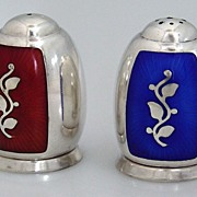 Danish Sterling Silver Enamel Salt And Pepper Shakers 1930
