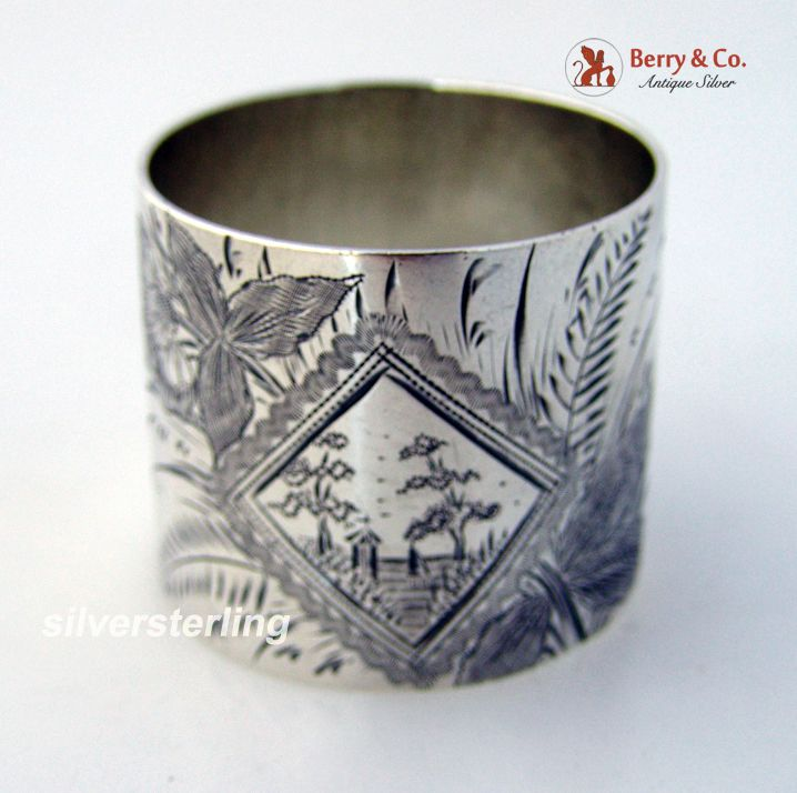 Aesthetic Bright Cut Scenic Napkin Ring Sterling Silver 1880