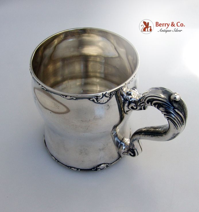 Shell Scroll Cup Mug Whiting 1902 Large Sterling Silver Monogram WK 1902