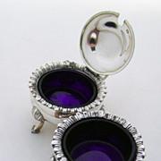 Open Salt Mustard Pot Cobalt Glass Gadroon Sterling Silver William Hutton Sheffield Sterling S