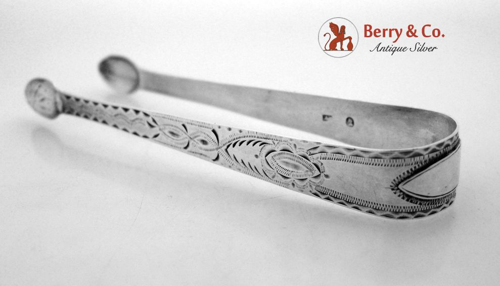 18th Century Bright Cut Engraved Sterling Silver Sugar Tongs