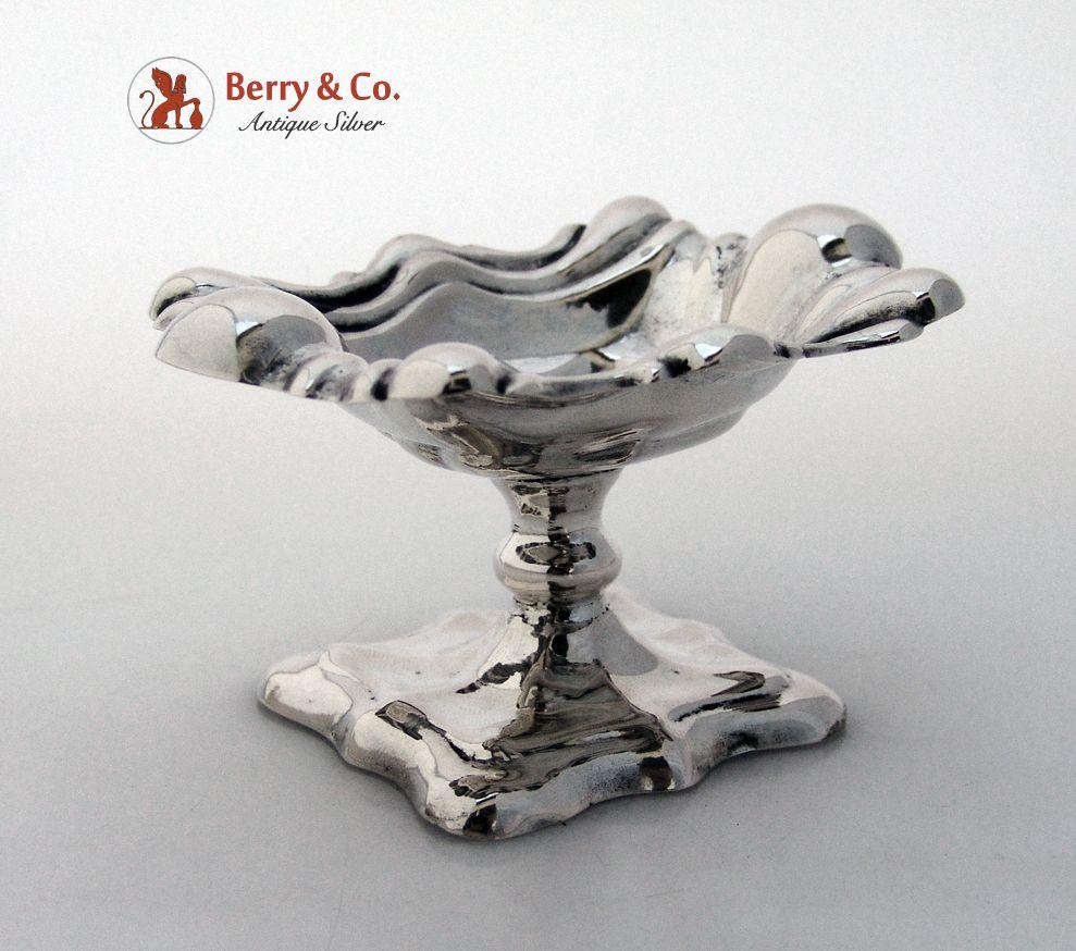 Austrian Pedestal Salt Dish 800 Silver Lobed Body Base Vienna 1853